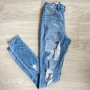 Fashion nova high rise light wash distressed jeans